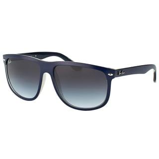 Ray-Ban Unisex RB 4147 61328G Boyfriend Matte Blue on Crystal Plastic Square Grey Gradient Lens Sunglasses