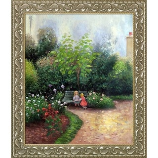 Camille Pissarro 'A Corner of the Garden at Hermitage Boulevard Montmartre, Spring' Hand Painted Framed Canvas Art