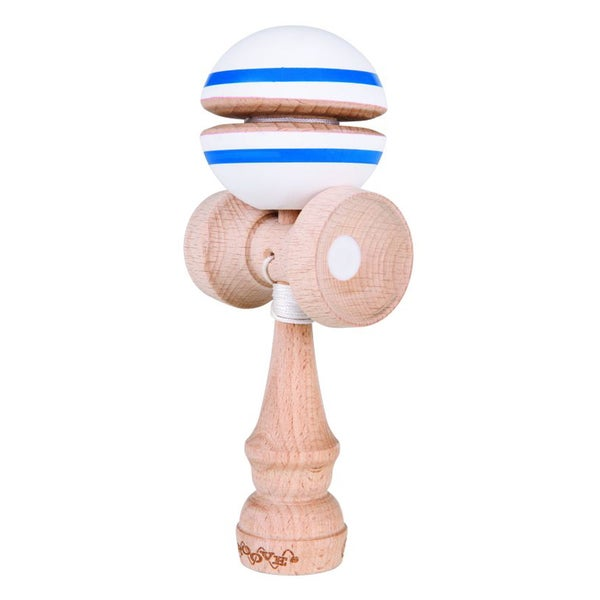 White with Blue Stripe Groove Kendama