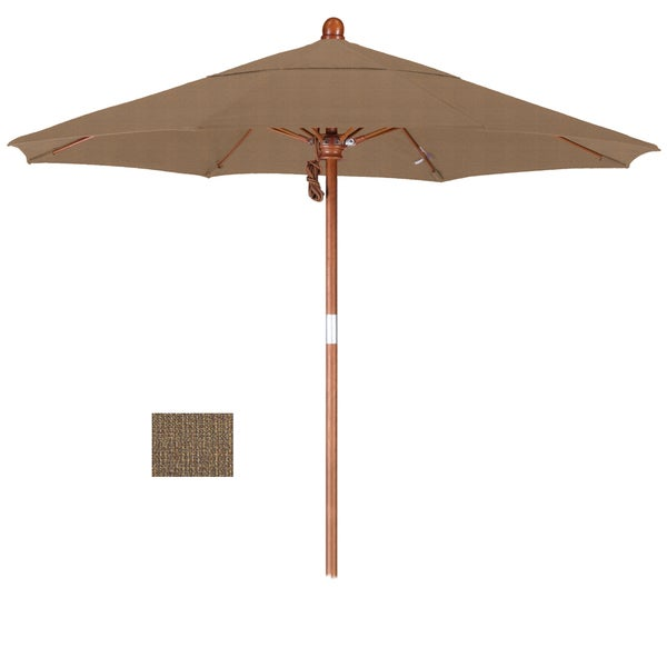 California Umbrella 7.5' Rd. Marenti Wood Frame, Fiberglass Rib Market Umbrella, Double Wind Vent, Olefin Fabric 19107470