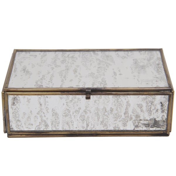 Clear Frosted Glass/Brass Small Box