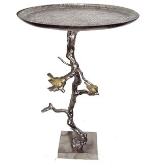 Silver Aluminum Round Accent Table