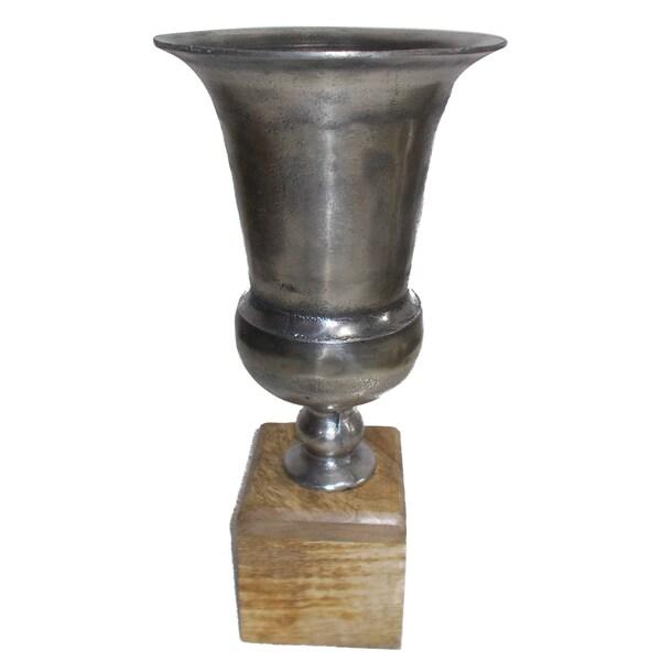Aluminium and Mango Wood Vase