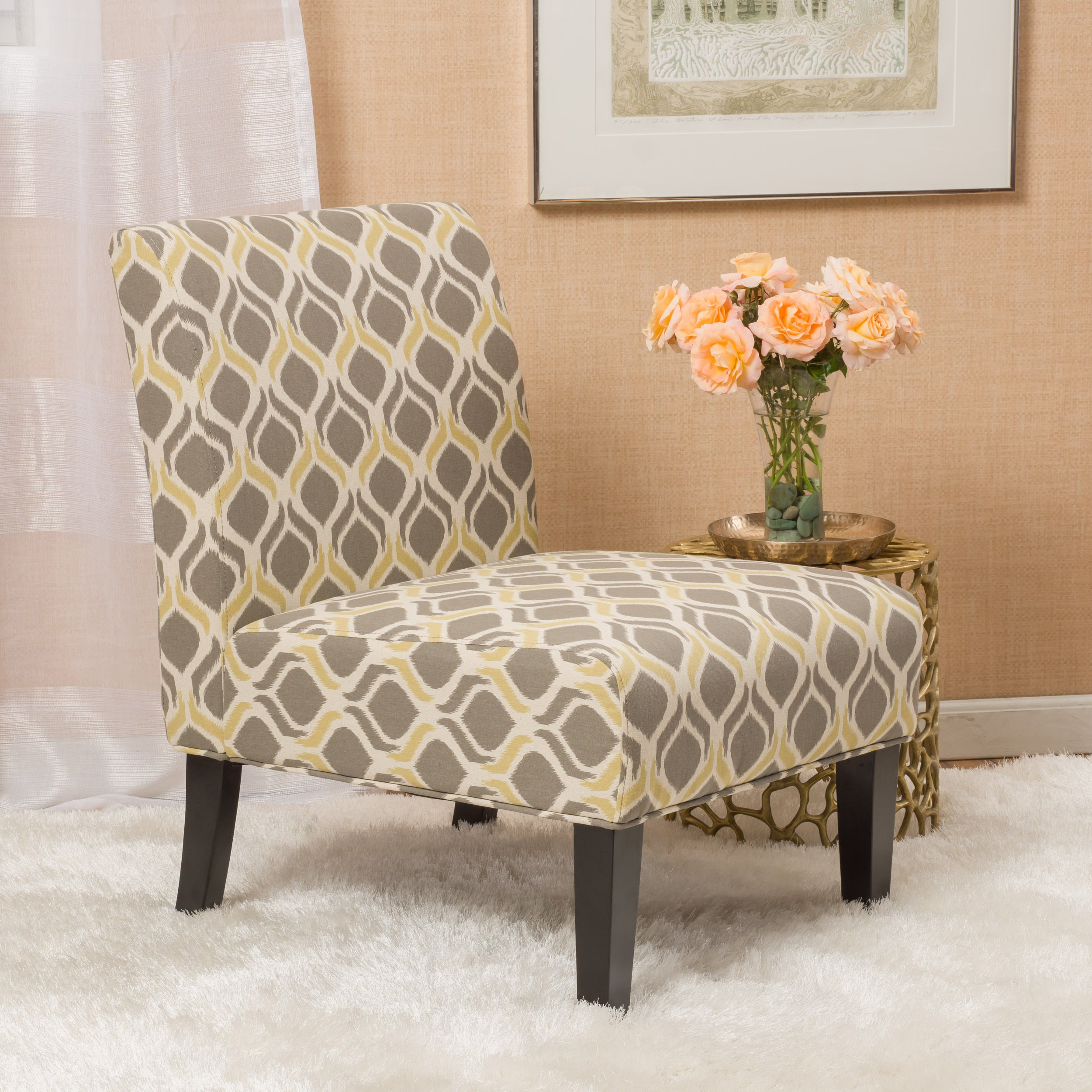 Saloon Fabric Print Accent Chair Set of 2 by Christopher Knight