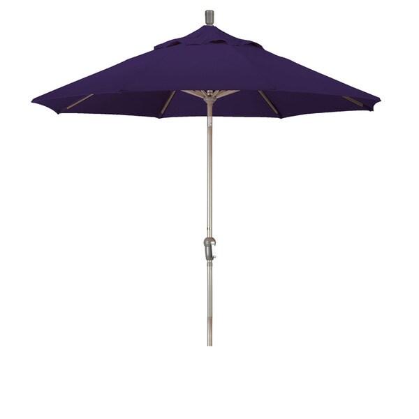 California Umbrella 9' Round Aluminum Crank Open Auto Tlit Market Umbrella, Champagne Finish, Pacifica Fabric 19107943