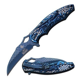 Masters Collection Dragon 4.75-inch Titanium Laser-etched Folding Knife