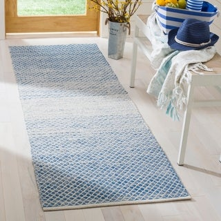 Safavieh Hand-Woven Montauk Blue/ Ivory Cotton Rug (2' 3 x 7')