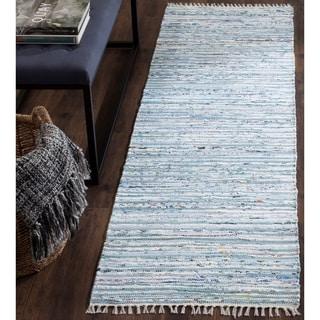 Safavieh Hand-Woven Rag Rug Light Blue/ Multi Cotton Rug (2' 3 x 6')