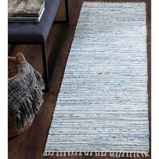 Safavieh Hand-Woven Rag Light Blue/ Multi Cotton Rug (2'3 x 7')