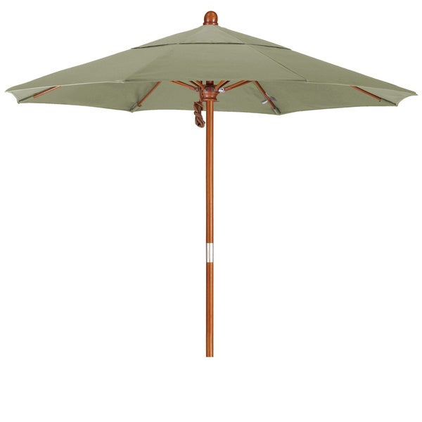 California Umbrella 7.5' Round Marenti Wood Frame Market Umbrella, Push Open, Stained Natural Wood Finish, Pacifica Fabric 19108424