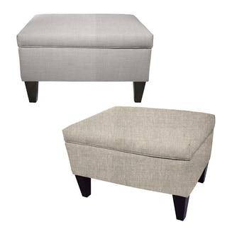 MJL Furniture BROOKLYN Grey Polyester, Wood Upholstered Storage Ottoman