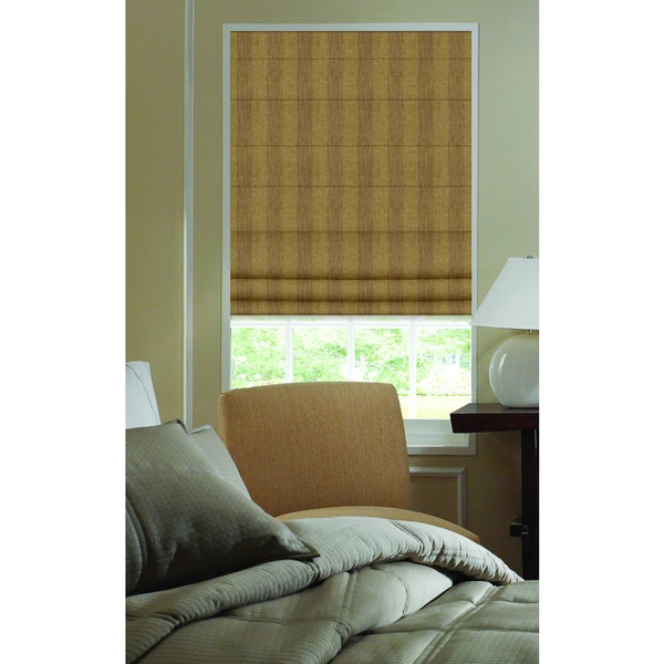 Roman Shades Ashton Stripe Camel Polyester Plain Fold Custom Blinds
