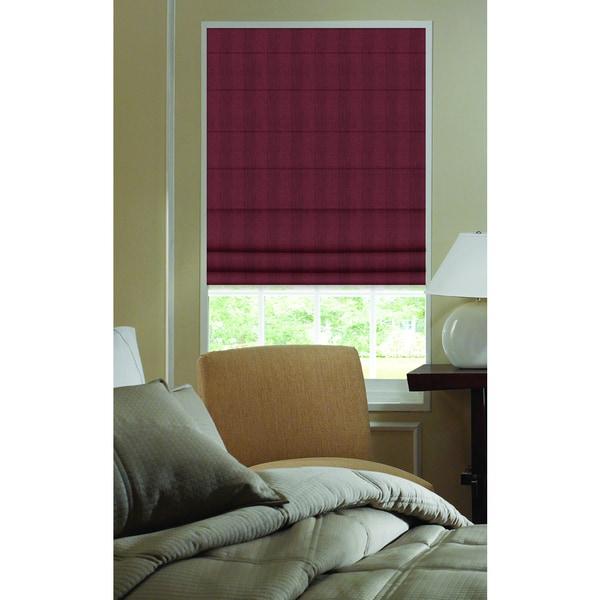 Ashton Stripe Wine Plain Fold 44- to 44-1/2-inch Wide Roman Shade