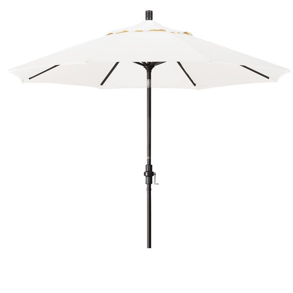 California Umbrella 9' Rd. Aluminum Market Umbrella, Deluxe Crank Lift with Collar Tilt, Bronze Frame Finish, Olefin Fabric 19111091