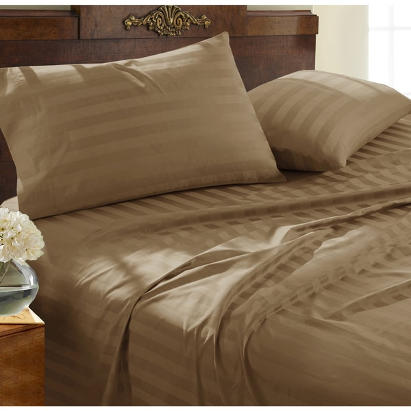 500-thread-count 100-percent Supima Damask Stripe 4-piece Sheet Set