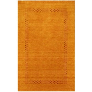 Herat Oriental Indo Hand-loomed Tribal Gabbeh Gold Wool Rug