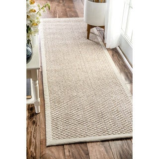 nuLOOM Casual Natural Fiber Solid Sisal/ Wool Border Runner Rug (2'6 x 8')