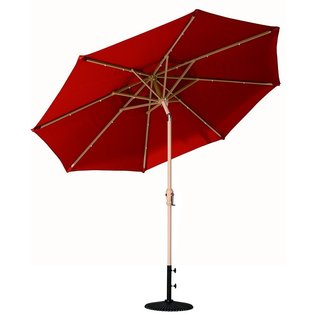 Abba Patio Dark Red Aluminum/Steel/Polyester 9' Round Solar Powered LED 24-lights Patio Umbrella With Tilt and Crank