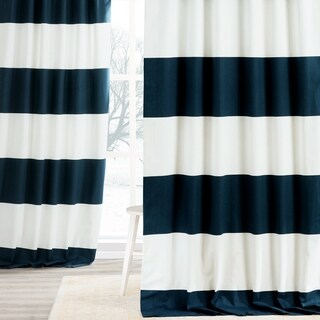 Exclusive Fabrics Cotton 84-inch Horizontal Stripe Curtain Panel