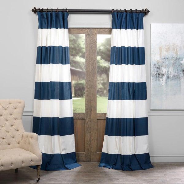 Exclusive Fabrics Cabana Cotton 96-inch Horizontal Stripe Curtain ...
