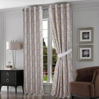 Tribeca Living Fiji Chocolate/Grey Cotton Grommet Top-lined Curtain Panel Pair With Tiebacks