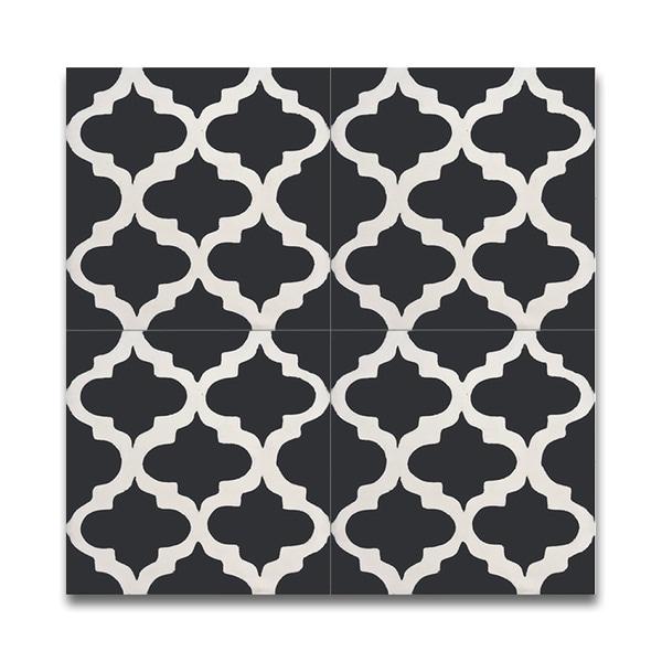 Lantern Black & White Handmade Cement and Granite Moroccan Tiles (Morocco)