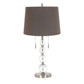 Acrylic Glass/Iron 28-inch Stacked Ball Table Lamp With Twins Pull Chain and Grey Linen Hardback Shade
