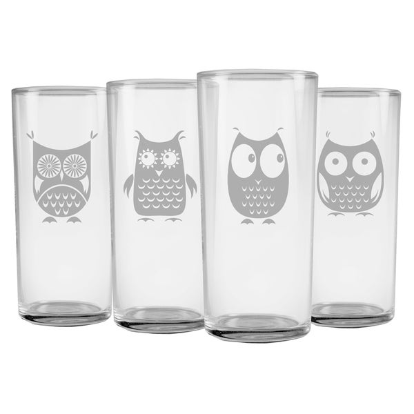 Owl Collection Slim Highball Glasses (Set of 4)