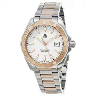 Tag Heuer Men's WAY1150.BD0911 '300 Aquaracer' Silver Dial Stainless Steel/Rose Gold Swiss Quartz Watch