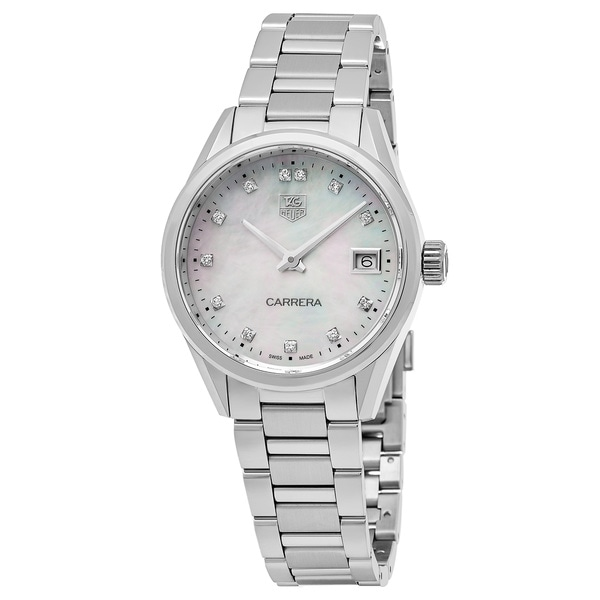 Tag Heuer Women's WAR1314.BA0778 'Carrera' Mother of Pearl Diamond Dial Stainless Steel Swiss Quartz Watch