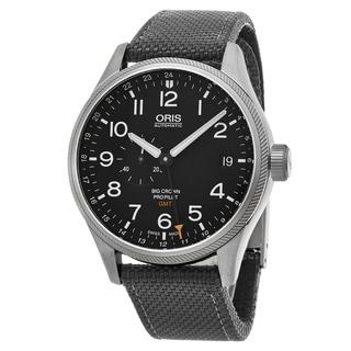 Oris Men's 748 7710 4164 LS 17 'Big Crown' Black Dial Grey Fabric Strap Pro Pilot GMT Swiss Automatic Watch