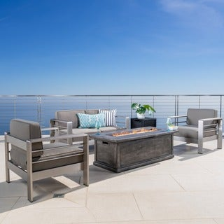 Christopher Knight Home Cape Coral Outdoor Aluminum 3-piece Chat Set with 56-inch Rectangular Liquid Propane Fire Table
