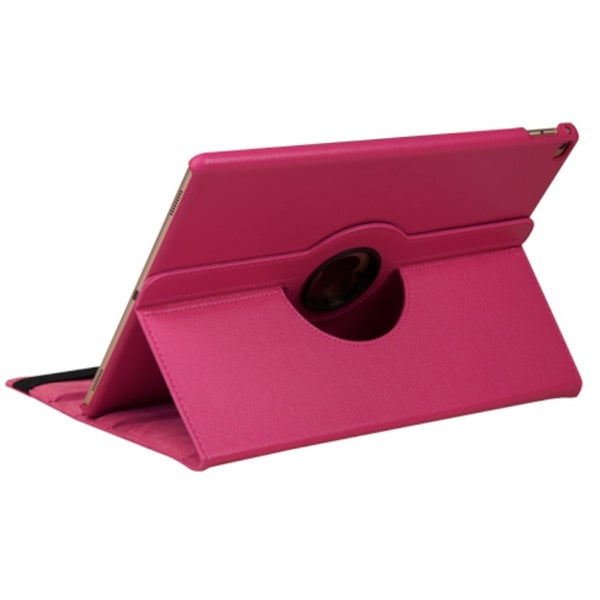Insten Hot Pink Swivel Folio Flip Leather Case Cover with Stand For Apple iPad Pro 9.7-inch (As Is Item)