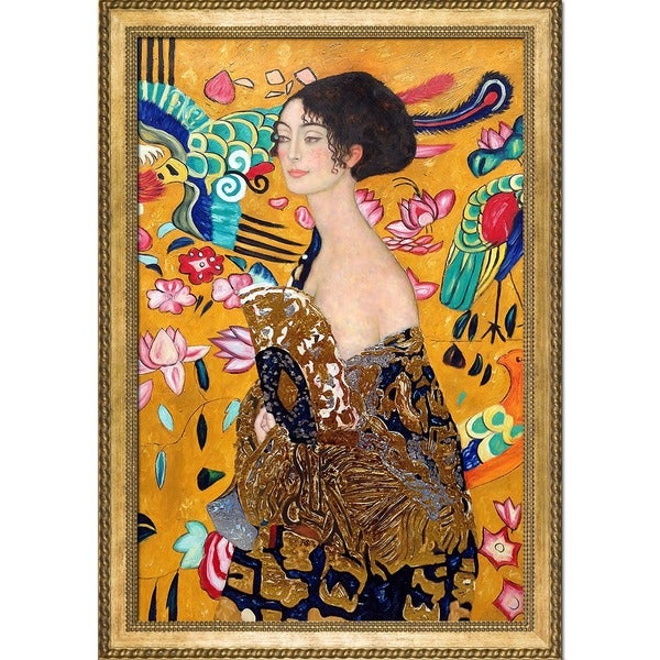 Gustav Klimt 'Signora con Ventaglio' Luxury Line Hand Painted Framed Canvas Art 19114751