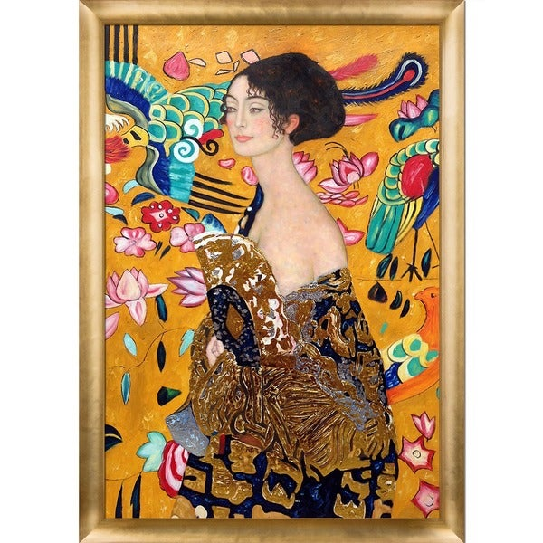 Gustav Klimt 'Signora con Ventaglio' Luxury Line Hand Painted Framed Canvas Art 19114753