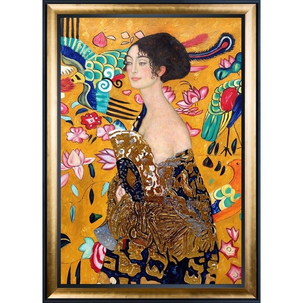 Gustav Klimt 'Signora con Ventaglio' Luxury Line Hand Painted Framed Canvas Art 19114755