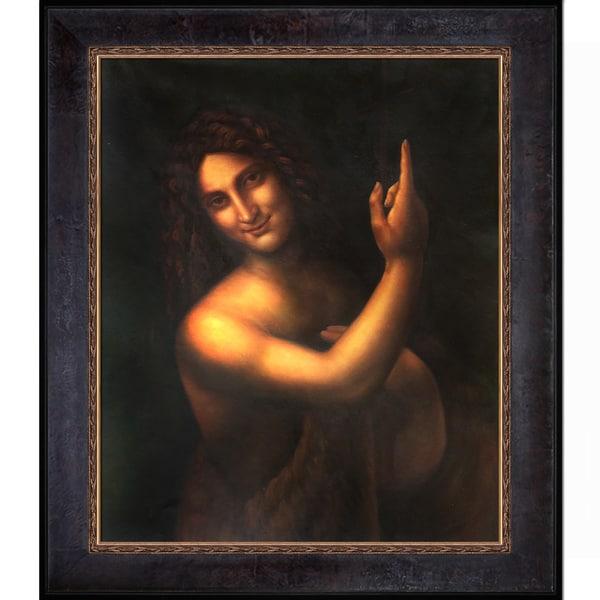 Leonardo da Vinci 'St John the Baptist' c.1513-1516 Hand Painted Framed Canvas Art