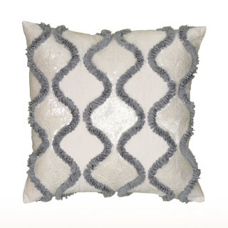 Rizzy Home White/Brown Cotton/Polyester 18-inch x 18-inch Georgette Ruffles Decorative Throw Pillow