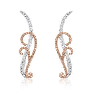Rose Gold and Sterling Silver 1/5ct TDW Diamond Filigree Ear Climbers (I-J, I1-I2)