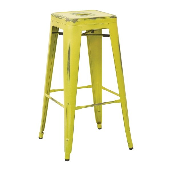 Office Star Products Bristow Antique/Metal/Rubber 30-inch Vintage Modern Sheet Cafe Bistro Bar Stools (Set of 2)