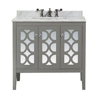Mediterraneo Collection Grey/White Wood 36-inch Vanity with Marble Countertop