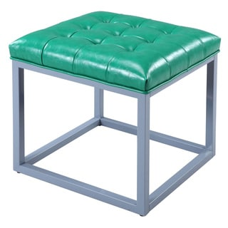 Iconic Home Newman Leather Button-tufted Metal Frame Square Cube Ottoman