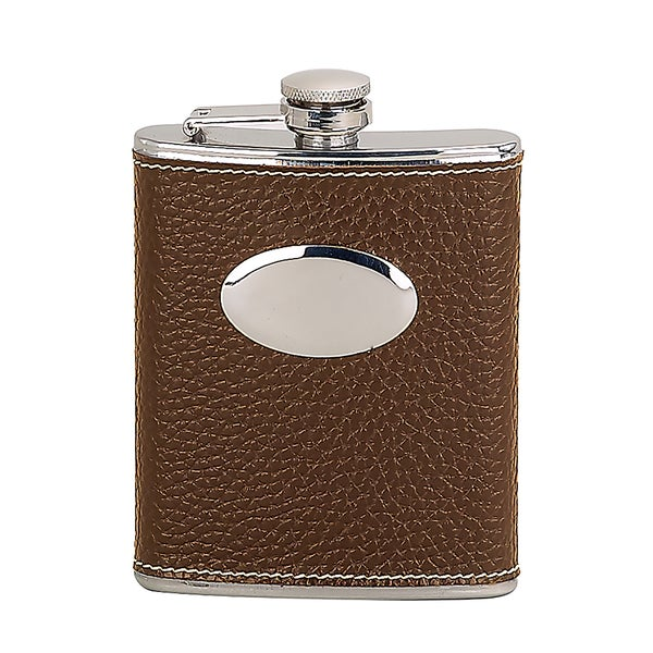 Elegance 6 oz Flask, Faux Leather Wrapped-Brown 19115098