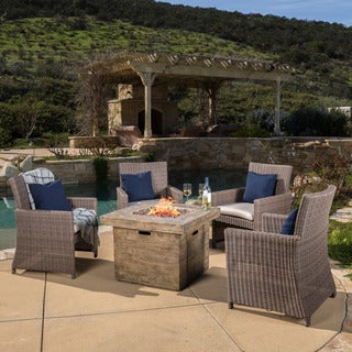 Christopher Knight Home Barcelona Outdoor 4-piece Wicker Arm Chair Set with 32-inch Square Liquid Propane Fire Pit