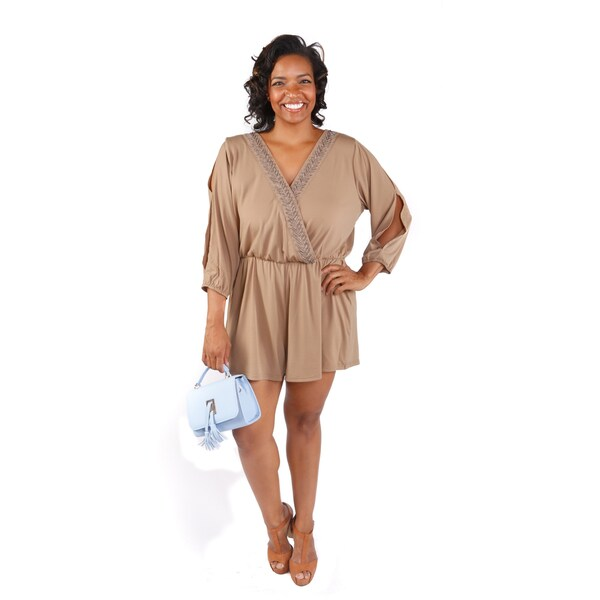 Hadari Women's Plus Size Embellished V-Neck Cold Soulder Solid Romper