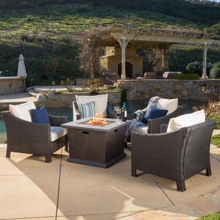 Christopher Knight Home Antibes Outdoor 4-piece Wicker Club Chair Set with 32-inch Square Liquid Propane Fire Pit