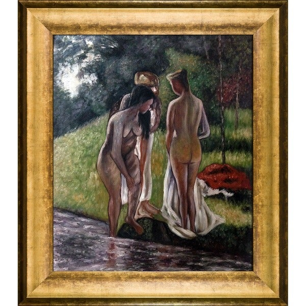 Camille Pissarro 'Nude in the Forest' Hand Painted Framed Canvas Art 19115269