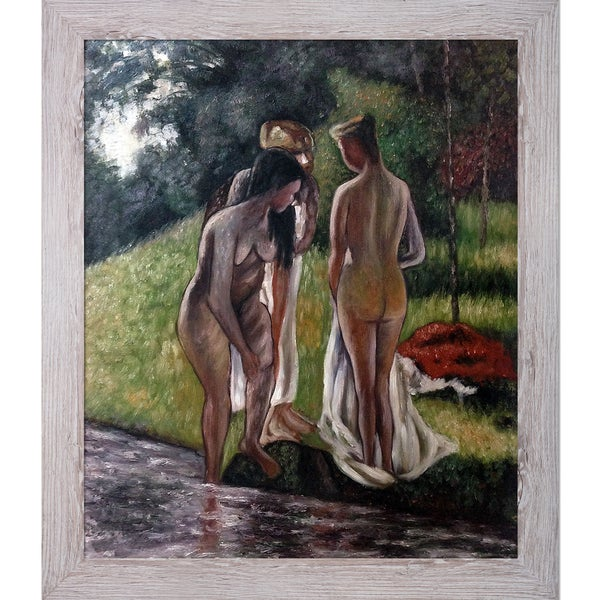 Camille Pissarro 'Nude in the Forest' Hand Painted Framed Canvas Art 19115270
