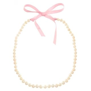 Filii Children's Sterling Silver Cultured Freshwater Pearl 39-inch Necklace With Pink Ribbon