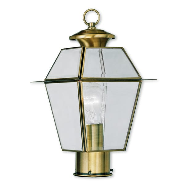 Livex Lighting Westover Antique Brass 1-light Outdoor Post Lantern